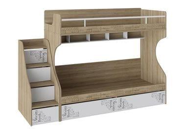 Кровать 2-х ярусная с лестницей приставной с ящиками «Оксфорд», СМ-139.11.012