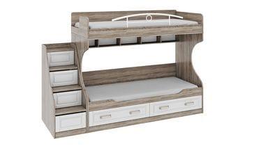 Двухъярусная кровать с лестницей с ящиками «Прованс», СМ-223.11.001