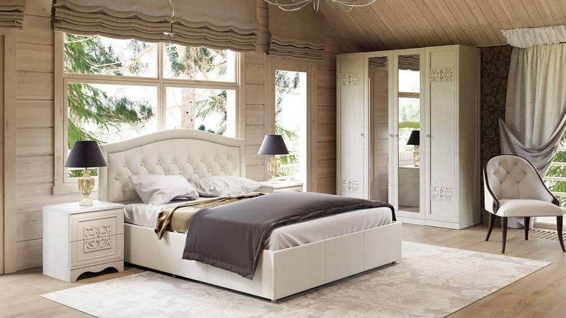 """Кровать с подъемным механизмом и мягким изголовьем «Адель», СМ-300.01.11(5) """"крем"""""""