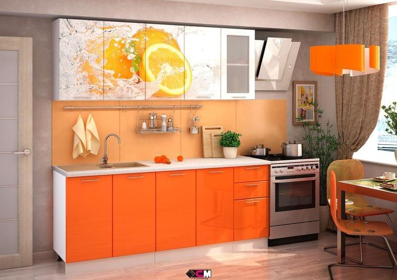 Кухня с фотопечатью «Апельсин» 2.0