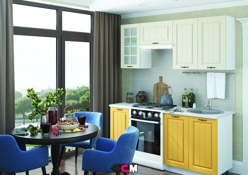 Кухонный гарнитур «Мария», крем-желтый