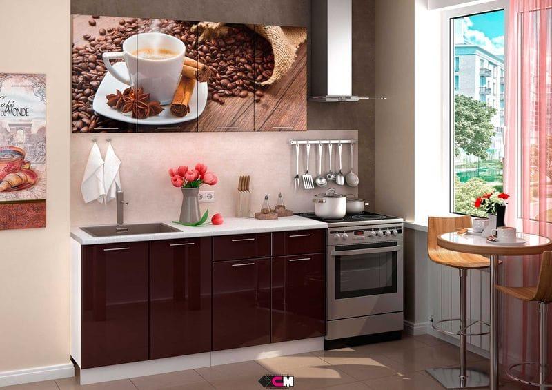 Кухня с фотопечатью «Кофе» 1,6