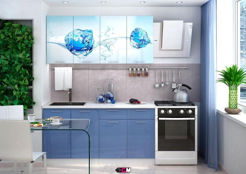 Кухня с фотопечатью «Лед» 1.6