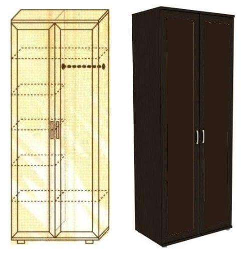 Шкаф для одежды со штангой и полками мод-102
