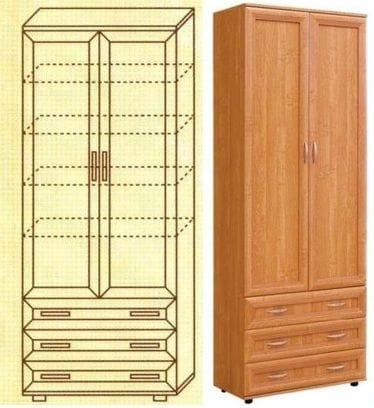 Шкаф с полками и ящиками мод-106