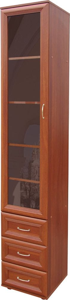 Узкий шкаф с полками, ящиками и дверцой со стеклом мод-112