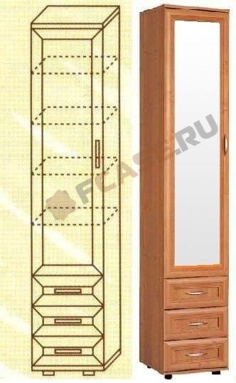 Узкий шкаф с зеркалом и ящиками мод-113/1