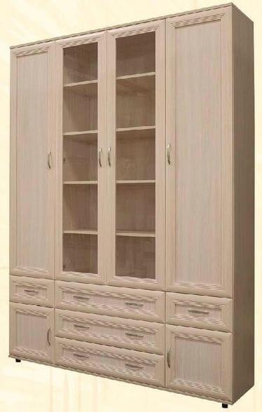 Четырёхстворчатый шкаф для книг со стеклом мод-170