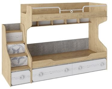 Кровать двухъярусная с приставной лестницей «Мегаполис» СМ-315.11.01