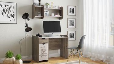 Стол компьютерный «Найс» тип 1, Дуб сонома трюфель/Фон бежевый с рисунком