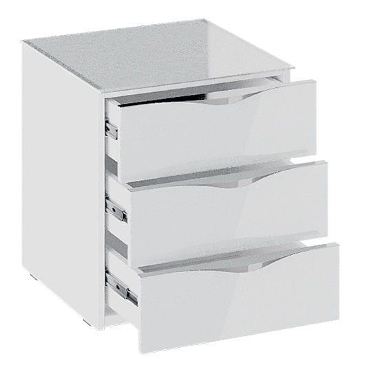 Тумба прикроватная с 3 ящиками «Глосс» (Белый глянец/Стекло)
