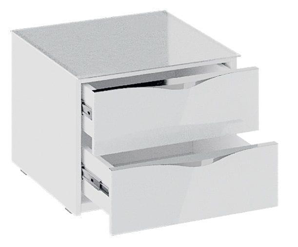 Тумба прикроватная с 2 ящиками «Глосс» (Белый глянец/Стекло )