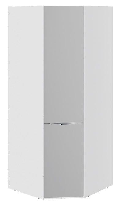 Шкаф угловой с зеркальной дверью «Глосс» (Белый глянец)