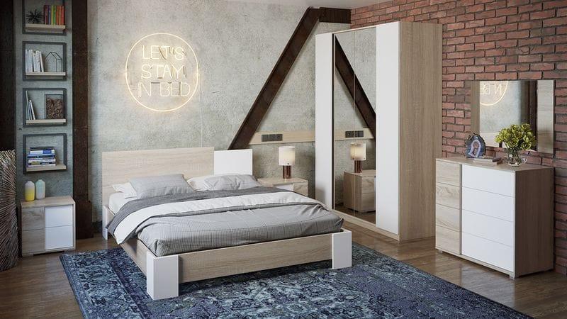 Спальня «Валери» (Дуб Сонома/Белый ясень)