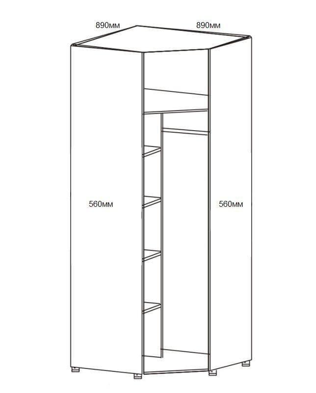 Шкаф угловой для одежды 1-но дверный с зеркалом 6.23