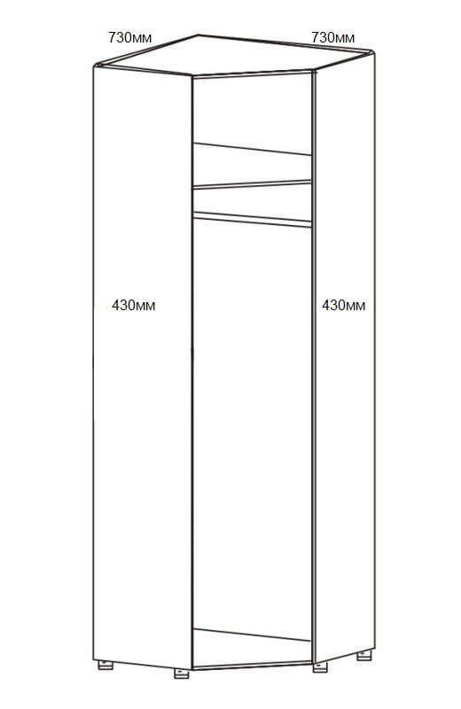 Шкаф угловой для одежды 1-но дверный с зеркалом 6.25