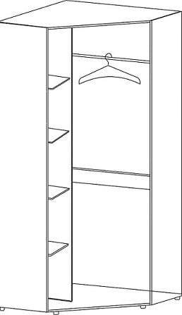 Шкаф угловой 2-х дверный с зеркалами 5.21