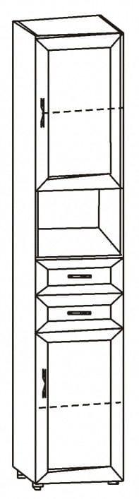 Шкаф 2-х дверный с 2-мя ящиками и нишей 6.43
