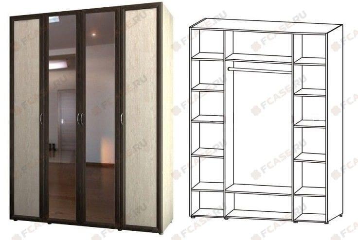 Шкаф 4-х дверный для одежды и белья с зеркалом 6.17