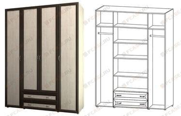 Шкаф 4-х дверный для одежды и белья с 2-мя ящиками 6.18