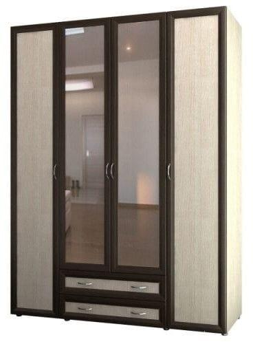 Шкаф 4-х дверный для одежды и белья с 2-мя ящиками и зерк. 6.19