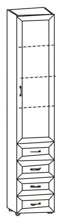 Шкаф с 1-ой стекл.дв. и 4-мя ящиками 6.46