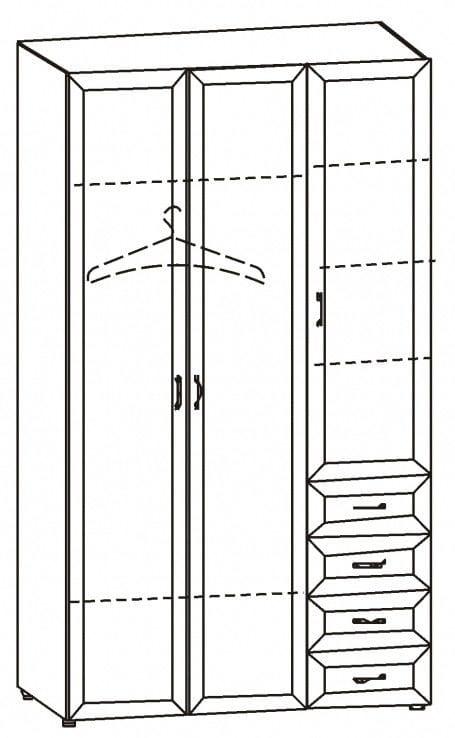 Шкаф 3-х дв. для одежды и белья с 4-мя ящ. 6.47