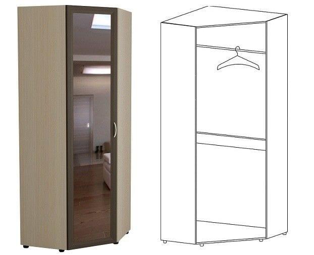 Шкаф угловой с зеркалом 5.25