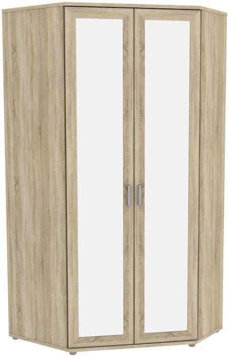 Несимметричный угловой шкаф с зеркалами 535.02