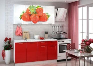 Кухня с фотопечатью «Клубника» 1.6