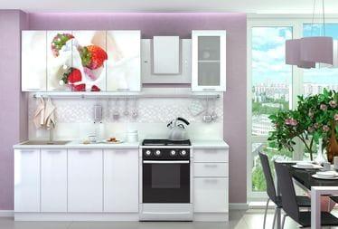 Кухня с фотопечатью «Клубника со сливками» 1,8