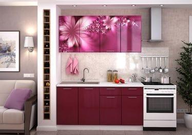 Кухня с фотопечатью «Лилии» 1.6