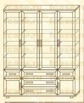 Четырёхстворчатый шкаф мод-170п