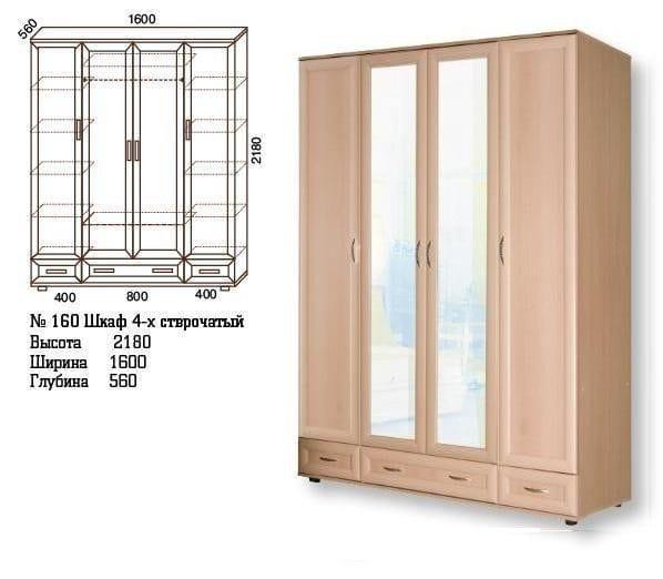 Четырёхстворчатый шкаф с ящиками для хранения одежды мод-160