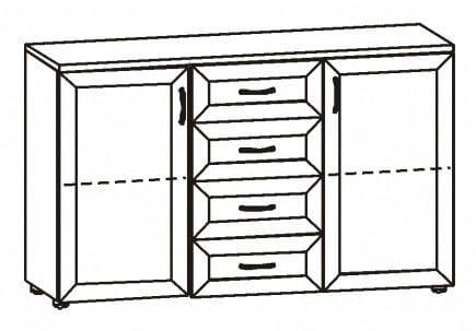 Комод с 4-мя ящиками и 2-мя дверьми 2.20р