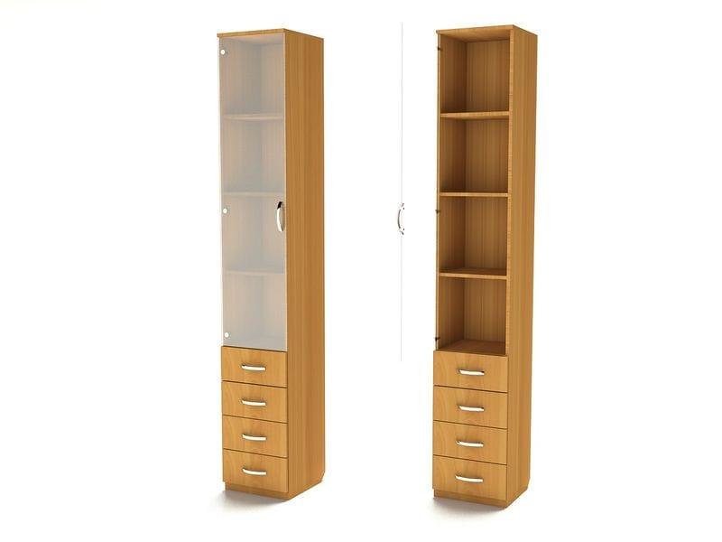 Узкий шкаф для книг с ящиками ШК-8