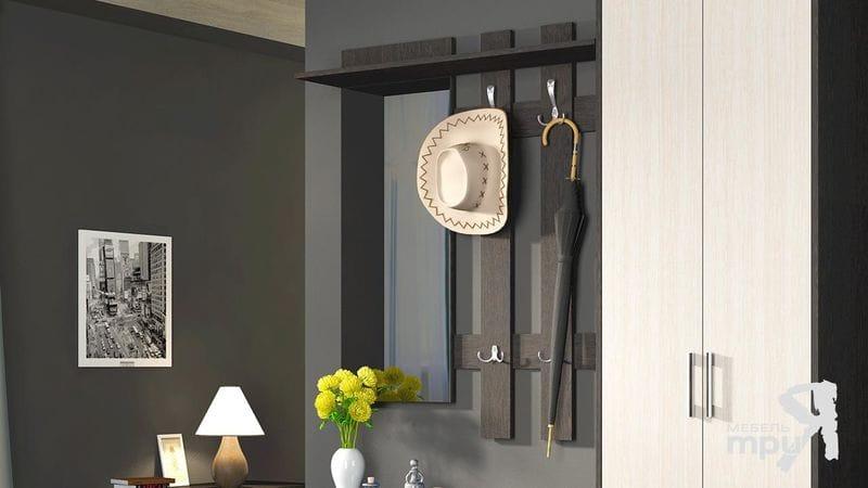 Вешалка с крючками и зеркалом «Арт» венге