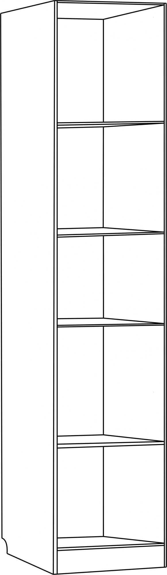 Шкаф для книг узкий со стеклянной дверью С 210/1 М