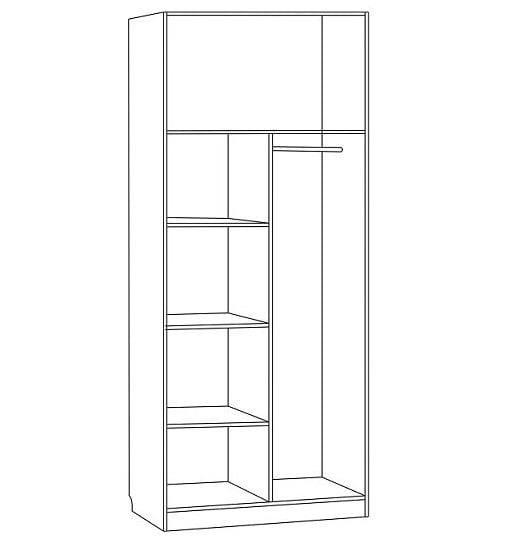 Шкаф для платья и белья 2-х дверный С 202 М
