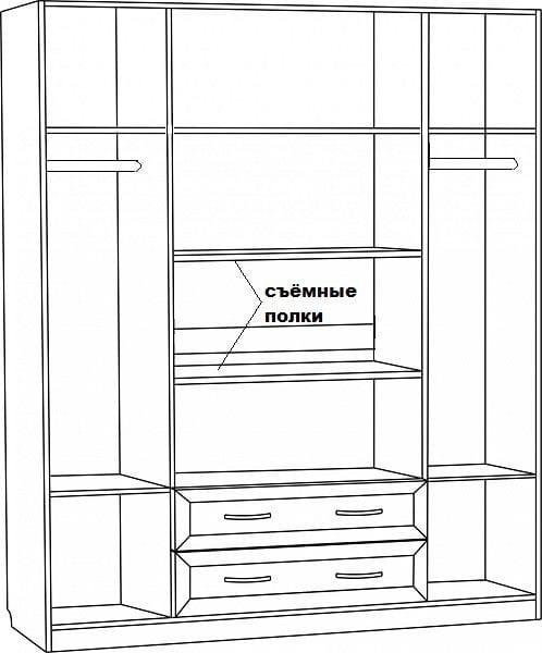 Шкаф для платья белья четырехдверный с двумя ящиками С 299 М