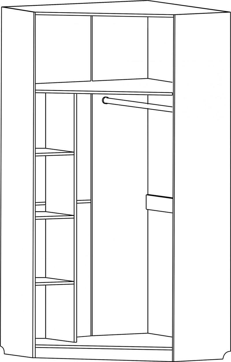 Шкаф белый угловой однодверный 841.54-54
