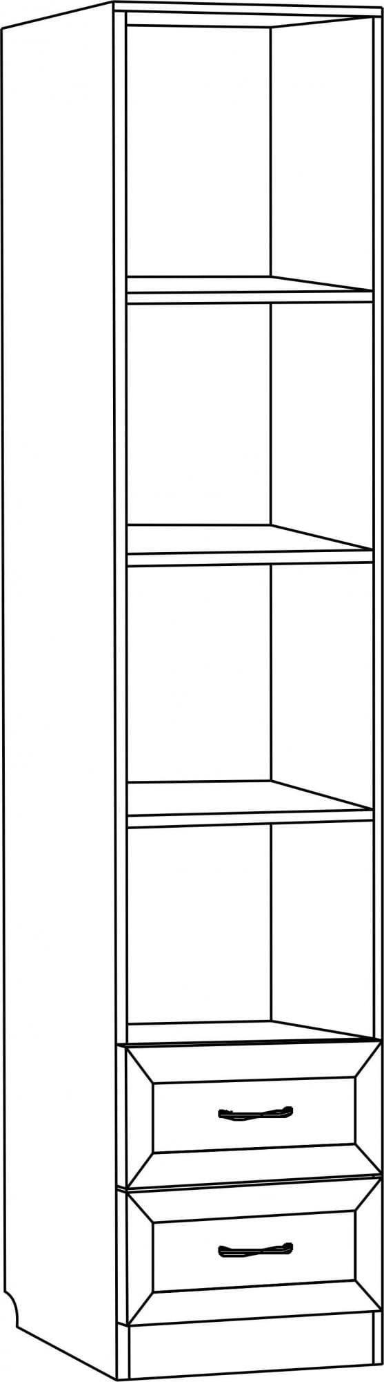 Шкаф для книг узкий с двумя ящиками С 214 М
