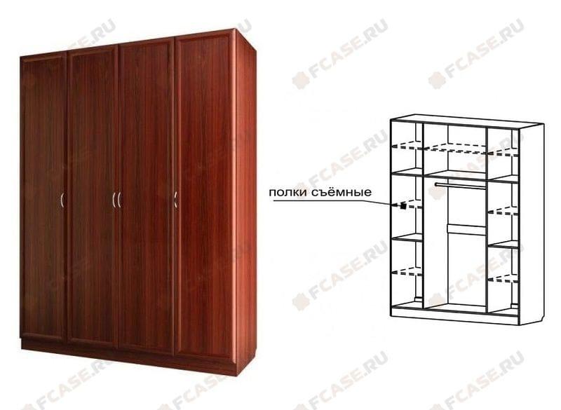 Шкаф для платья и белья 4-х дверный С 200 М