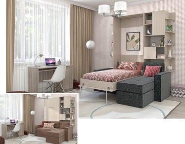 Вариант спальни с подъёмной кроватью №2