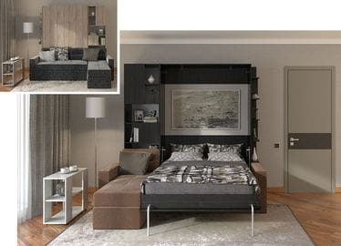 Вариант спальни с подъёмной кроватью №1