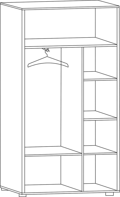 """Шкаф двухдверный для одежды с зеркалами широкий Ш-85Л, """"Вече лайт"""""""