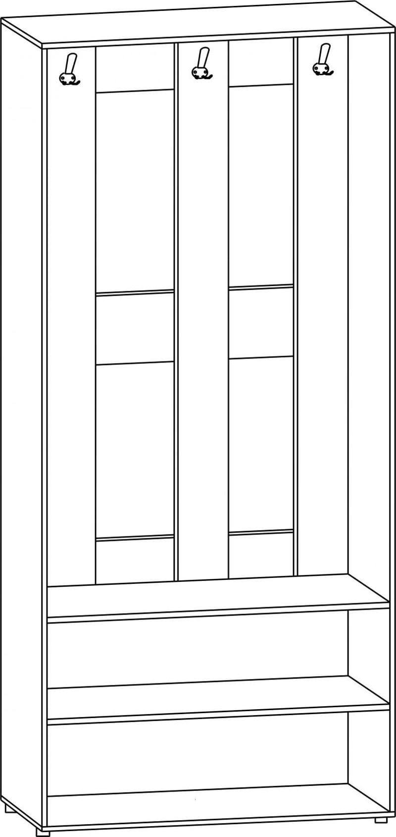 "Шкаф вешалка открытый с дверцами В-62Л, ""Вече лайт"""