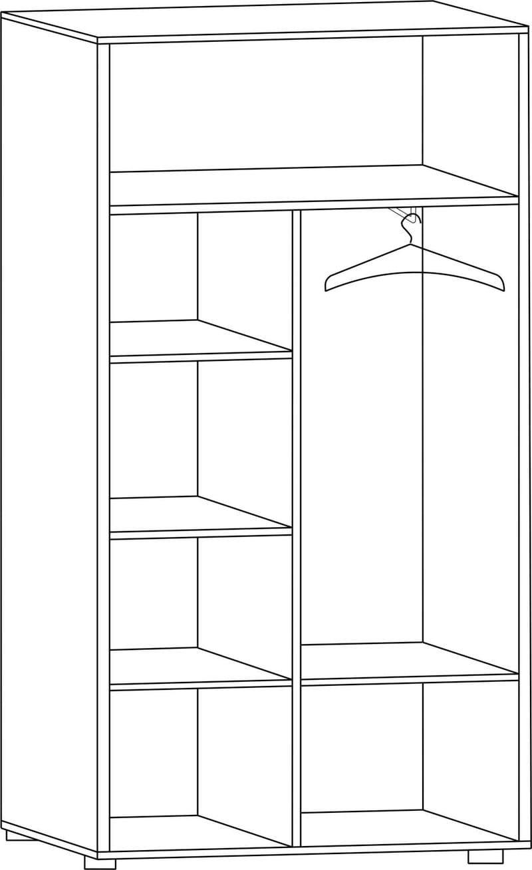 """Шкаф двухдверный для одежды с полками Ш-84Л, """"Вече лайт"""""""