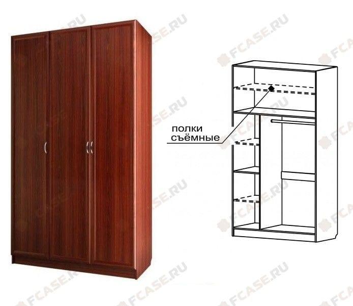 Шкаф для платья и белья 3-х дверный С 404 M