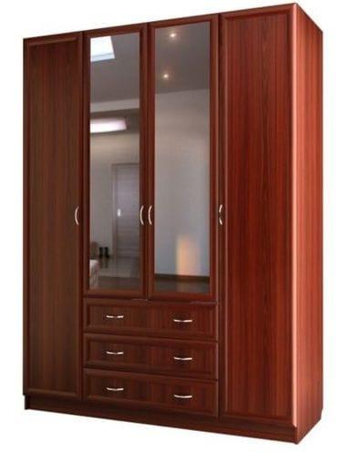 Шкаф для платья и белья 4-х дверный с 3-мя ящиками, с 2-мя зеркалами C 399/1 M